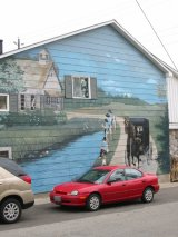 Mural with Mennonite image in St. Jacobs, Ontario